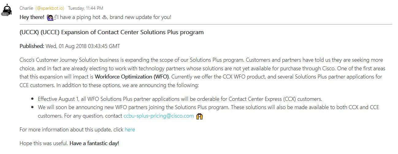 Receiving Cisco Contact Center Update Notices in Webex Teams